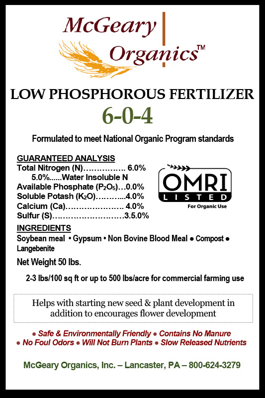 Organic Low Phosphorous Fertilizer